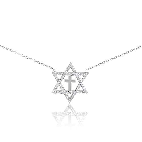 (Star of David with Cross Silver Religious Necklace)
