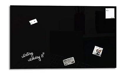 Smart Glass Board ® Pizarra de cristal magnética/Tablero de notas magnético en vidrio + 3 Imanes SuperDym + 1 Marcador, 90 x 45 cm, Negro