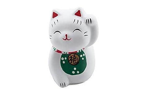 White and Blue Maneki Neko Lucky Fortune Cat Earthenware Ceramic Collectible Figurine 2.5 H
