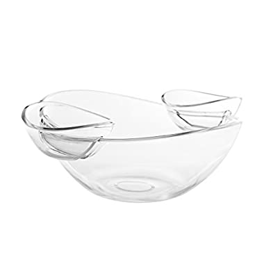 Adorn Crystal Clear Plastic Chips n' Dips/Salad Bowl with 2 Detachable Dip Cups Set
