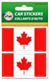 2 CANADA COUNTRY FLAG SMALL BUMPER STICKERS DECALS 3.5 CM X 7 CM ...CANADIAN ... NEW IN PACKAGE