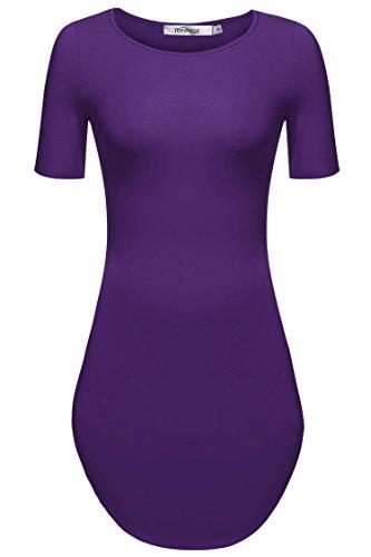 [Meaneor Women's Sexy Short Sleeve Side Slit Party Beach Mini Dress Long Tshirts Purple S] (Sexy Purple Dress)