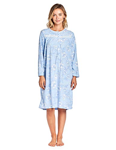 54ebb7f974 Casual Nights Women s Long Sleeve Printed Micro Fleece Nightgown - Blue -  Large