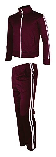 myglory77mall Men's Running Jogging Track Suit Jacket and Pants Warm up Pants Gym Training Wear M US(XL Asian Tag) Wine by myglory77mall