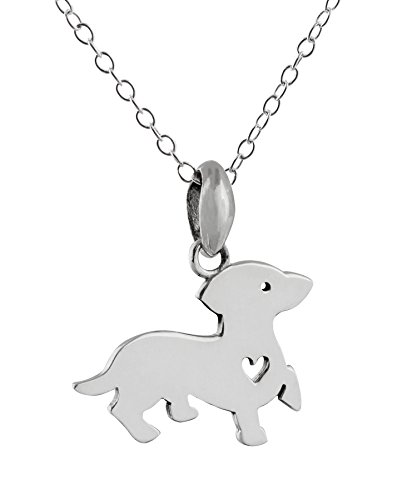 Sterling Silver Dachshund Dog with Heart Cutout Charm Pendant Necklace, 18 Inch Chain