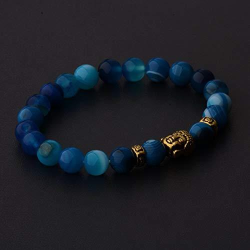Werrox Natural Gemstone Beads Buddha Head Beaded Men Womens Lava Rock Bracelet   Model BRCLT - 2222  