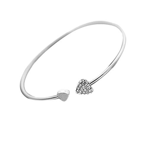 2019 WoCoo New Heart Crystal Love Opening Bracelet Crystal Bracelets Bracelets for Women(Silver)