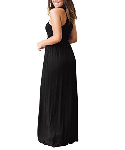 Rojeam Longue Robe d't Boho Robe Plage Femme avec des Poches Black