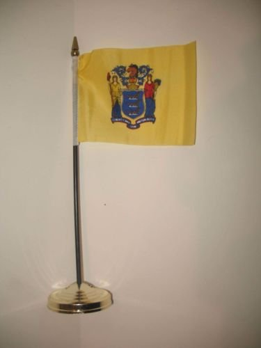New Jersey State Flag 4''x6'' Desk Set Table Stick Gold Base BEST Garden Outdor Decor polyester material FLAG PREMIUM Vivid Color and UV Fade Resistant by Moon