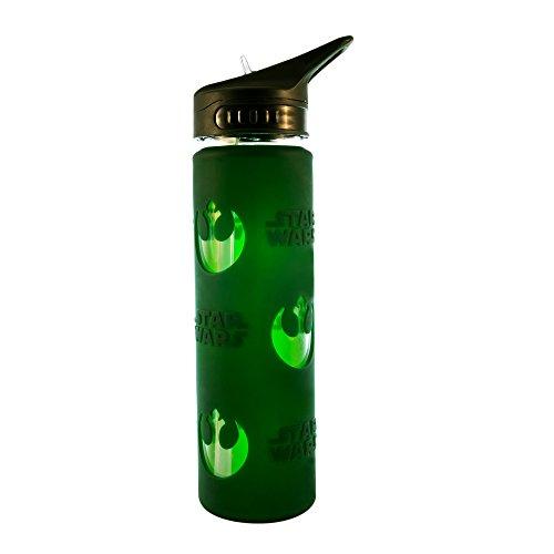Silver Buffalo SW11026C Disney Star Wars Rebel Logo Glass Water Bottle, (Logo Water Bottle)