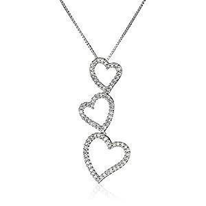 """10k White Gold Diamond Triple Open-Heart Drop-Pendant Necklace (.22cttw, I-J Color, I3 Clarity), 18"""""""
