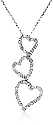 Diamond Heart Drop Pendant - 10k White Gold Diamond Triple Open-Heart Drop-Pendant Necklace (.22cttw, I-J Color, I3 Clarity), 18