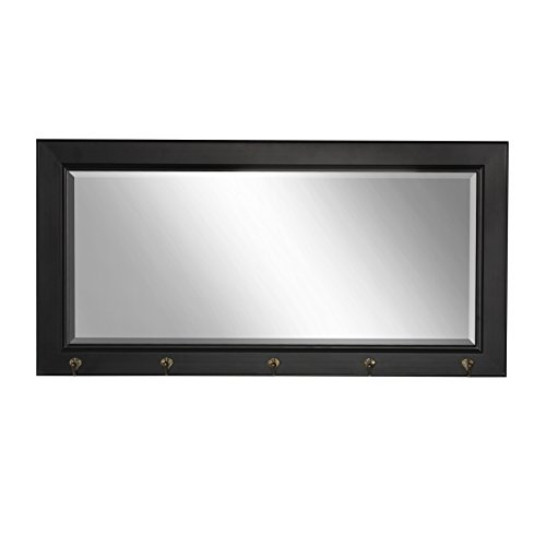 DesignOvation Pub Mirror with 5 Metal Hooks, Black