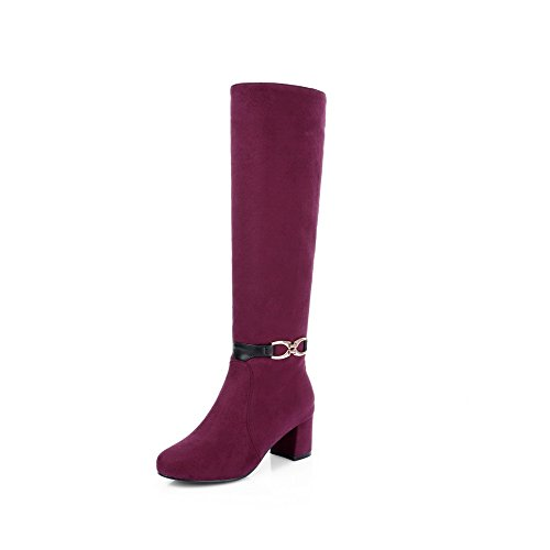 Odomolor Women's Round Closed Toe High Top Kitten Heels Solid Frosted Boots Claret