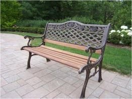 Oakland Living Tea Rose Cast Iron and Wood Bench in Antique Bronze Finish