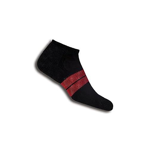 Thorlos 84N Men'S Runner Micro Mini Sock Size: M, Black/Red with a Helicase Sock Ring - 84n Runner