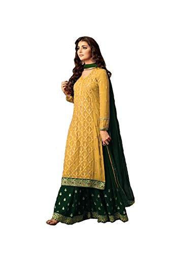 (Laxminarayan Women Faux Georgette Embroidered Indian Pakistani Sharara Style Salwar Suit (Large, Yellow & Green))