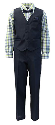 Vittorino Boys 4 Piece Suit Set with Vest Shirt Tie Pants and Hankerchief, Navy - Green, -