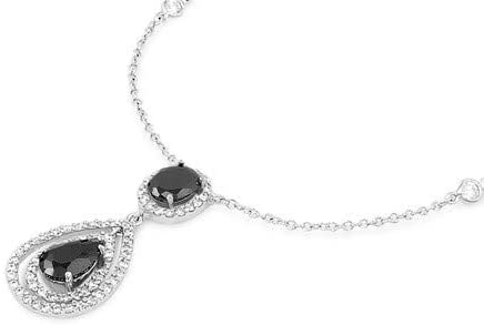 Black /& Clear Glitzs Jewels 925 Sterling Silver Cubic Zirconia Necklace for Women