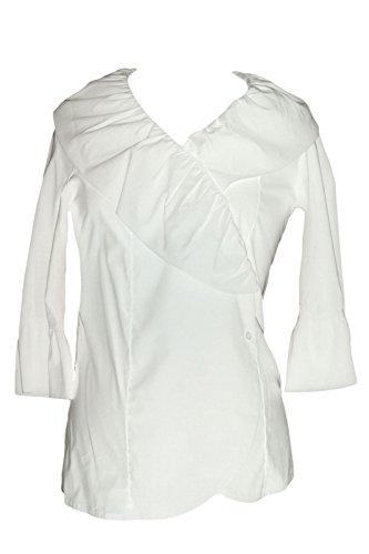 Olian Maternity Women's Ruffled Front 3/4 Sleeve Wrap Top X-Small White - Olian Maternity 3/4 Sleeve Top