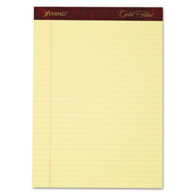 Gold Fibre Writing Pads, Legal/Legal Rule, Ltr, Canary, 4 50-Sheet Pads/Pack, Total 12 PK, Sold as 1 Carton by Ampad