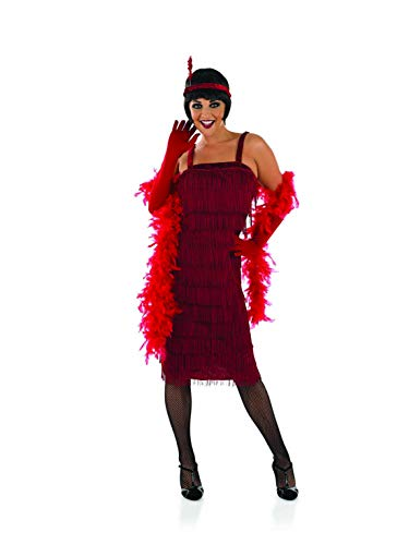 Womens 20s Red Flapper Girl Costume Fringed Decades Dress - Small