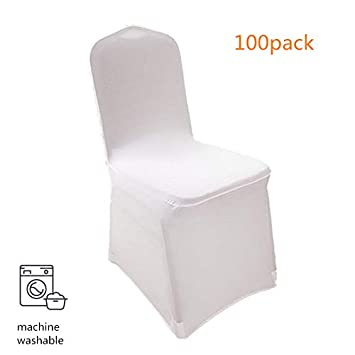 Anfan Universal 100pcs White Chair Covers Spandex/Slipcovers for Wedding, Party, Banquet(Set of 100) (White-2)