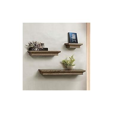 AHDECOR Floating Shelves Grey Wash, Ledge Wall Shelf, Super Sturdy, Easy to Install (4 Inches Deep, Set of 3 pcs)
