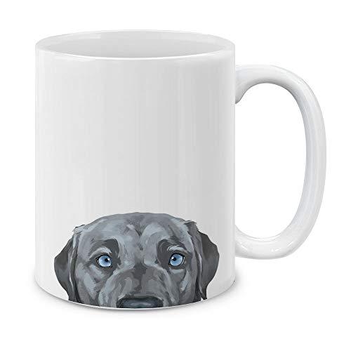 MUGBREW Silver Blue Labrador Retriever Dog Ceramic Coffee Gift Mug Tea Cup, 11 OZ