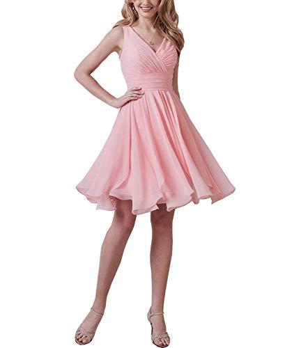 Simple V-Neck Short Pink Bridesmaid Dresses Chiffon Wedding Guest Down Formal Evening Dress B002