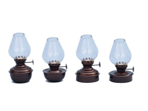 "Hampton Nautical  Antique Copper Table Oil Lamp, 5"", Set of 4, Copper"