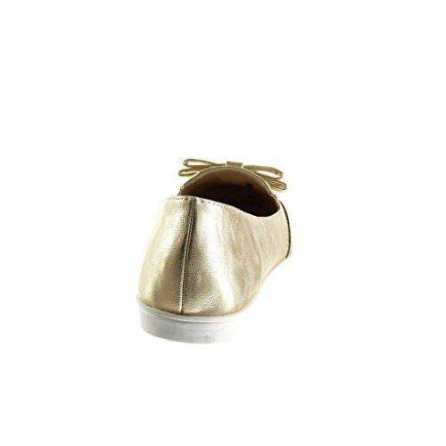Angkorly - Scarpe da Moda Mocassini slip-on donna nodo perforato verniciato Tacco tacco piatto 1.5 CM - Oro