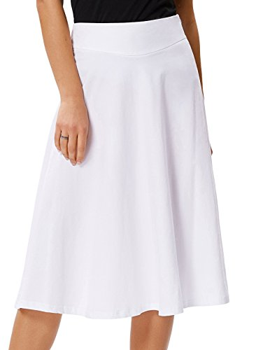 Essential Pleated Solid Flared Midi Skirt for Women(XL,White)