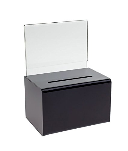SourceOne Large Oblong Donation Box W/ 8 1/2 x 11 Sign Holder (Black) ()