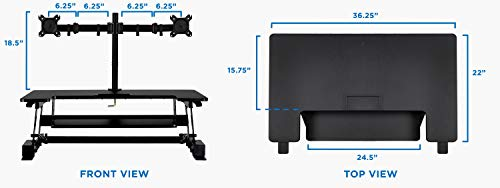 Mount-It! Standing Desk Converter with Bonus Dual Monitor Mount Included - Height Adjustable Stand Up Desk - Wide 36 Inch Sit Stand Workstation with Gas Spring Lift- Black (MI-7934) by Mount-It! (Image #7)