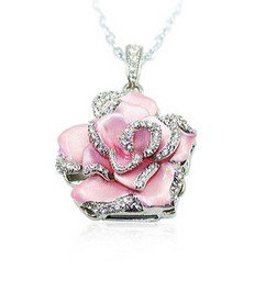 Pink Crystal Rose Necklace 8GB Flash Drive