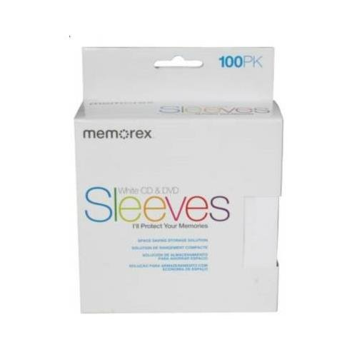 MEMOREX White CD & DVD Sleeves (100PK)