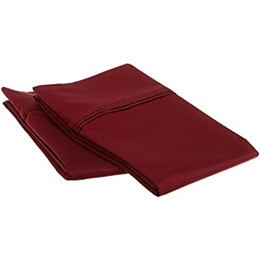1200 Thread Count 100% Egyptian Cotton, Soft and breathable, 2-Piece Standard Pillowcase Set Solid, Burgundy
