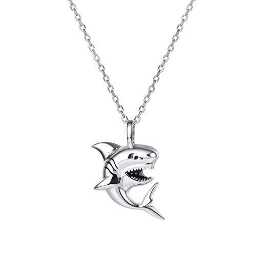 U7 Shark Pendant Animal Jewelry Stainless Sterling Silver Rolo Chain