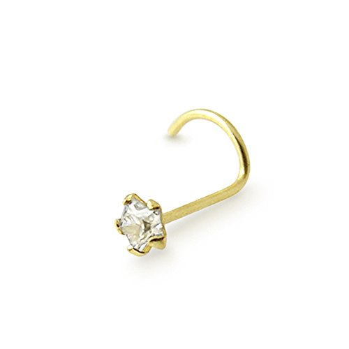 9K Solid Yellow Gold 3mm Star CZ Nose Body jewelry (9ct Gold Setting)
