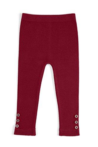 EMEM Apparel Unisex Boys Girls Baby Toddler Medium Weight Seamless Cotton Full Ankle Length Leggings With Buttons Cranberry 18-24 (Medium Cranberry)