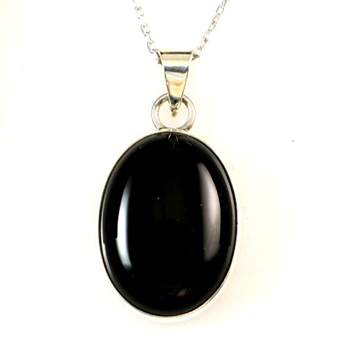 Sterling Silver Natural Black Onyx Gemstone Handmade Oval Pendant Necklace 18+2 inches Chain