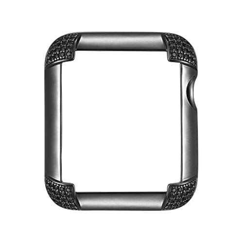 Matte Black Rhodium Plated Jewelry-Style Apple Watch Case with Genuine Spinel Pavé Corners - Small (Fits 38mm iWatch)
