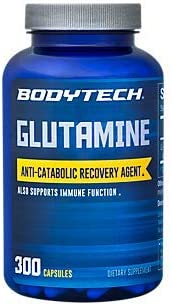 BodyTech LGlutamine Freeform Amino Acid 500 MG AntiCatabolic Recovery Agent, Also Supports Immune Function 300 Capsules