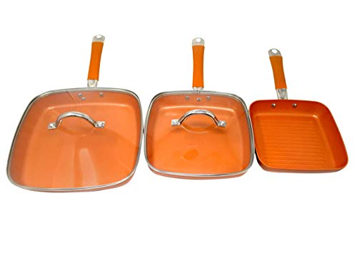 Copper Color Square Nonstick Frying Pan Set with Glass Lids by Trademark Innovations