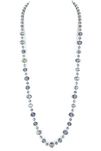Faceted Glass Bead Necklace - Allegro Transparent Medium Blue Faceted Round Glass Bead Necklace w/Silver-Tone Spacers 30