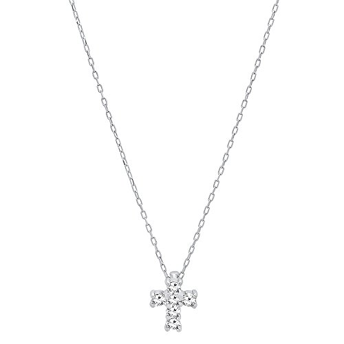 0.10 Carat (ctw) 18K White Gold Round Diamond Ladies Cross Pendant 1/10 CT (Gold Chain Included)