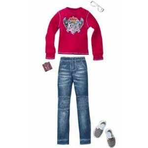 Barbie Fashion Clothes for Ken: Cutie Maroon Sweater & Jeans