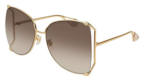 Gucci GG0252S Sunglasses 003 Gold / Brown Gradient Lens 63 ()