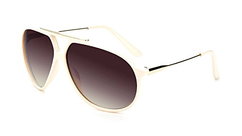 Scarface Retro Hip Hop Aviator Sunglasses (White & Gold, Brown - Evidence Sunglasses